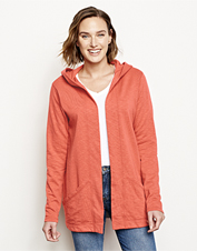 You're ready for relaxing days when you wear our hooded French terry Sunwashed Cardigan.