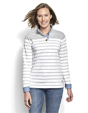 Made for comfort, our Striped Quarter-Button Sweatshirt comes in earth-friendly French terry.