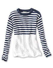 Our striped cable-knit sweater complements other wardrobe pieces, but also shines on its own.