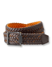 Hint at your love of hunting—or let it blaze—with this reversible braided leather belt.