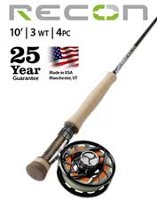 Choose the Recon 3-Weight 10' 4-Piece Fly Rod when sensitivity and reach matter.