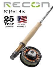 The Recon 4-Weight 10' 4-Piece Fly Rod offers excellent reach, without skimping on power.