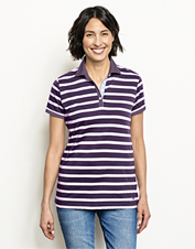 Our jersey knit polo shows off a striped pattern for a bit of classic flair on casual days.