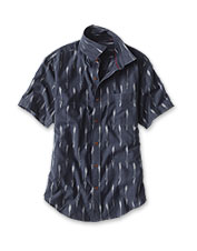 The arrow weave on this shirt is created using an ikat process of dyeing, then weaving, yarns.