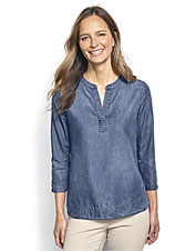 An easy-care Tencel blend lends this lightweight popover shirt performance and polished style.