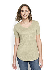 532a315ff6 Jersey knit linen gives our Lakeside Pintucked Tee plenty of character in a  breezy weight.