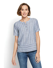 Keep cool and stylish on sultry summer days in our striped Lightweight Linen Boxy Popover.