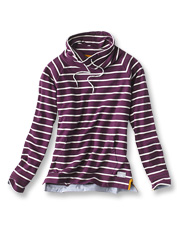 Our striped French Terry Cowlneck Sweatshirt adds a casual nautical feel to your wardrobe.