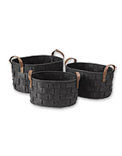 The welcoming texture of these woven Felt Nesting Baskets adds soft comfort to any room.