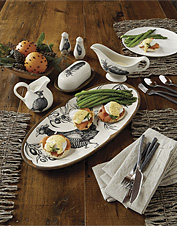 Game birds and the natural world inspired this ceramic serveware collection by Laura Zindel.