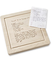Display the family recipe that transports you back home with this personalized cutting board.