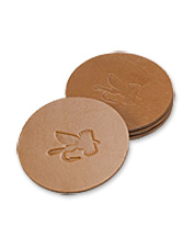 Our Leather Fly Embossed Coasters are a polished way to protect your furniture from moisture.