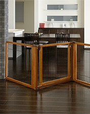 Give your furry friend his own space away from trouble with our 4-panel dog gate/pen combo.
