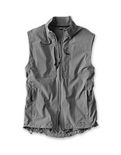 Our packable Meridian Wind Vest offers a lightweight layer against inclement weather.