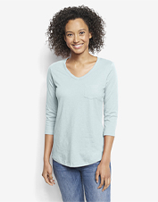 Our 1856 Three-Quarter Sleeved Tee is slub knit from organic cotton for an eco-friendly style.