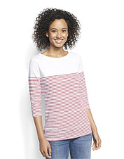 Our three-quarter-sleeved striped boatneck tee boasts eco-friendly cotton in a slub knit.