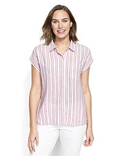 Our Dolman Striped Camp Shirt pairs a classic pattern with a favorite casual shirt silhouette.