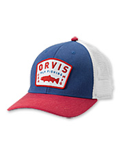 Our Orvis fly-fishing patch Upstream Trucker cap has a mesh back for a comfortably cool head.