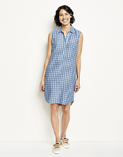 The hottest summer days feel a bit cooler in our breathable Linen Check Sleeveless Dress.