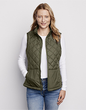 Our quilted puffer vest, made with recycled fill, adds a layer of warmth without the weight.
