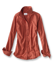 Our Women's Tech Check Flannel shirt is an eco-friendly option made with recycled materials.