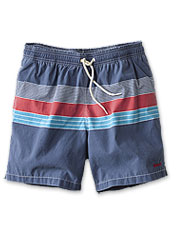 These striped Rydal Swim Shorts by Barbour exude a relaxed, retro vibe.