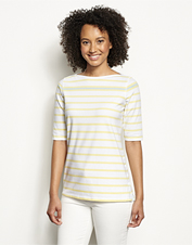An easy fit and ultrasoft hand meet in our striped Classic Cotton Tee for everyday comfort.