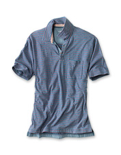 The polo shirt, an enduring classic, earns extra points in this indigo rendition.