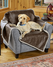 This faux leather and fleece dog throw protects your furniture in impeccable style.