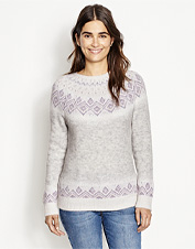 Tradition edges its way into the design of this crewneck sweater's Fair Isle-inspired border.