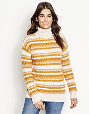 Relax by the fireplace in this warm, breathable turtleneck-style Merino Striped Tunic Sweater.