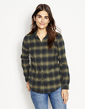 As the seasons change, button up in the easy comfort of our Lodge Flannel Plaid Shirt.