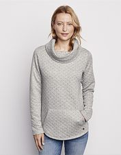 Change your style on a whim with our cozy, reversible Double Faced Quilted Cowl Sweatshirt.