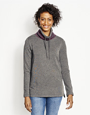 Our Supersoft Sweatshirt is hiding a surprise: A jacquard knit peeks from beneath the cowlneck.
