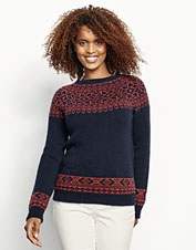 A classic Fair Isle knit lends a touch of tradition to this cashmere sweater's design.