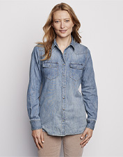 Button up in the casual comfort of our washed-soft indigo denim shirt on laid-back weekends.