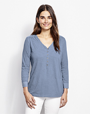 Our Moonlight Pines Three Quarter Sleeved Tee brings graceful accents to a casual style.