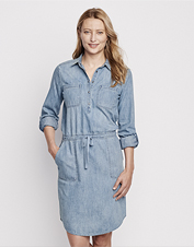 Our casual, tie-waist indigo denim shirtdress is perfectly washed to an easy-wearing softness.