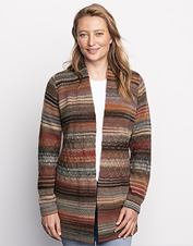 Open styling and a cozy wool blend make our Autumnal Stripe Cardigan a seasonal favorite.