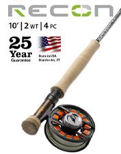 The Recon 2-Weight 10' 4-Piece is an ultra-sensitive fly rod for ultra-enjoyable Euro nymphing.