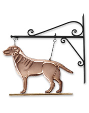 Welcome guests with the handsome canine on this hanging Copper Labrador Weathervane Sign.