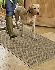 Our Oxford Weave Recycled Water Trapper Mat keeps mud and muck from tracking through the house.