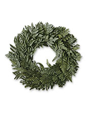Bring year-round greenery into your home with this decorative wreath packed in a wooden crate.