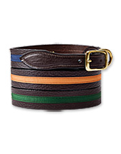 This smart leather dog collar earns appeal from vibrant ribbon stitched along the length.