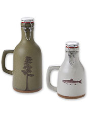 Keep your favorite local lager plenty bubbly in a rustic Handmade Ceramic Growler or Howler.