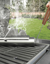 Get an irresistible slow-smoked flavor with this Stainless Steel Smoker and Wood Chip Set.