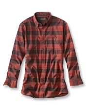 Space-dyed yarns create the warm palette in our cozy plaid Red Bluff Long-Sleeved Shirt.