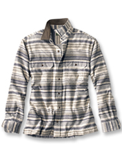 This earthy-hued blanket striped shirt is soft and comfortable, perfect for casual days.