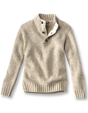 Our chunky knit button mock pullover gets its crafted-at-home feel from Donegal wool yarn.