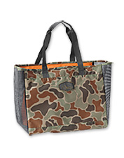 The ventilated Orvis Safe Passage Camo Tote bag lets air circulate around wet waders.